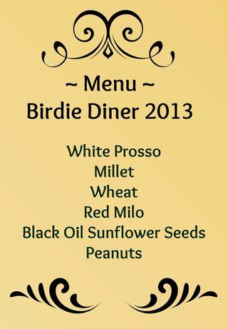 Birdie diner menu