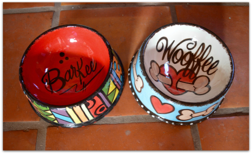 Abstract and cupid bone personalized pet bowls