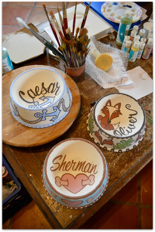 Unfinished personalized pet bowls
