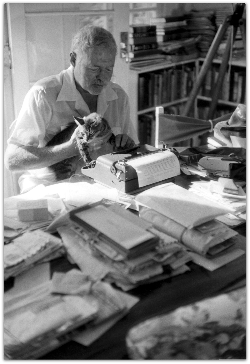 ErnestHemingway__JFKLibrary_fromWritersAndTheirCats
