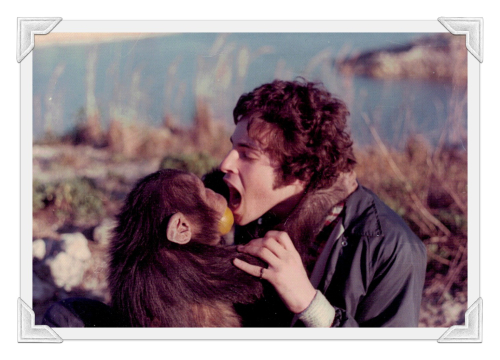 Mark and a chimp with frame